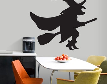 witch on a broom seasonal halloween wall decals