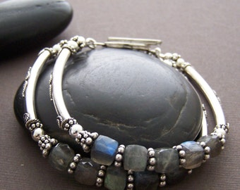 Brooklyn Sterling Silver Bracelet - Double Strand Labradorite Cube with Sterling Silver