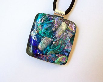 Dichroic Fused Glass Pendant and Necklace - Green, Silver - Sparkling Dichroic Jewelry - Fused Jewelry - 148-14