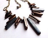 Bohemian gemstone fringe necklace with onyx, pyrite, bronze coated quartz points, natural quartz points on antiqued brass chain