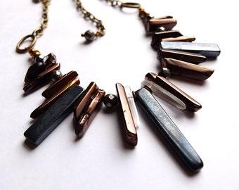 Bohemian gemstone fringe necklace with onyx, pyrite, bronze coated quartz points, natural quartz points on antiqued brass chain