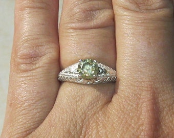 FREE SHIPPING .93 Champagne Diamond SI2 Sterling Silver Art Deco Engagement Ring sz. 6.5 to 7