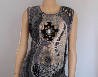 Boho Chic Chunky Grey Black  Freeform Crochet Sweater - Vest  - Top - Tunic -Wearable Art - OOAK