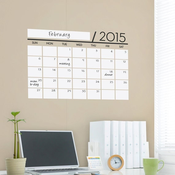 Vinyl Wall Sticker Decal - Wall Calendar - Dry Erase Rewritable for home and office