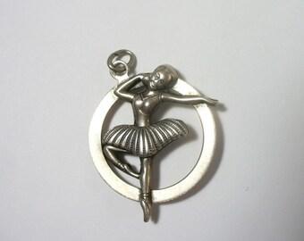 Vintage ballet dancer - sterling silver charm / pendant - Beau sterling