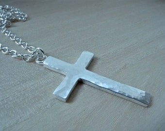 Large cross necklace sterling silver Mens cross pendant hammered silver christian jewelry gift for him - silver chain 25 inches