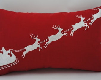 "Embroidered Decorative Pillow Cover - Santa's Sleigh - 12"" x 20"" Red (READY TO SHIP)"