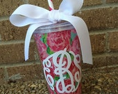 Monogram Lilly Pulitzer Inspired Acrylic Tumbler with Waterproof Fabric Insert - Gift Tumbler - 16 oz