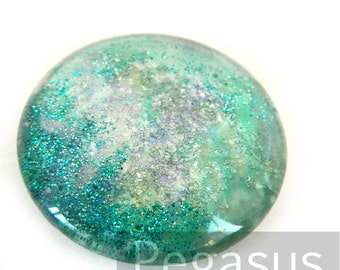 Green Mermaid Tears round Glass opal Cabochon (3 Piece,6 size options) Galaxy jewel gem for wedding,cosplay,elven costume,steampunk jewelry
