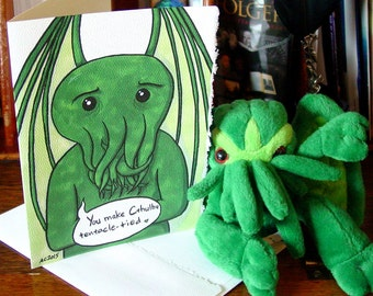 Cthulhu Greeting Card - You make Cthulhu tentacle-tied - Say I Love You with Lovecraft