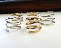 Hammered Silver Ring, Silver Spiral Ring, Hammered Gold Ring, Modern Silver Ring, Spiral Ring by m. frances