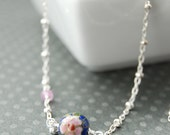 Flower Pendant Necklace, Pink Sapphire Necklace, Cherry Blossom Necklace, Child Necklace, Pink and Blue Necklace, Unique children's Jewelry