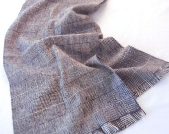 Gray Wool Tweed Print Scarf, Unisex Fringed Australian Wool, Made in USA, Menswear Women's Wear,70s 80s
