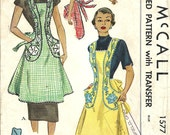 Vintage 50s Sewing Pattern And Transfer / McCall 1577 / Apron Pinafore / Size Medium Bust 36 To 38