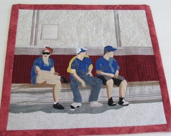 "Contemporary Art Quilt: ""Opening Day"""