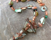 Peaceful Soul Necklace - Ocean Jasper, Sunstone, Fish, Turquoise - Earthy Chic Jewelry by YaY Jewelry