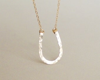 Gold Filled Horseshoe Necklace, Hammered Wire Hand Formed, Long Chains Available, Lucky Charm