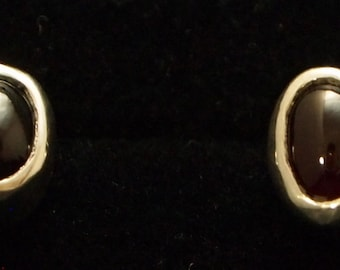 Sterling Silver and Garnet Post Earrings