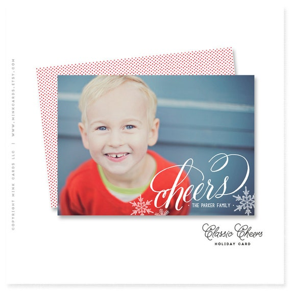 """holiday photo card, christmas card, cheers, new years, personalized - """"Classic Cheers"""""""