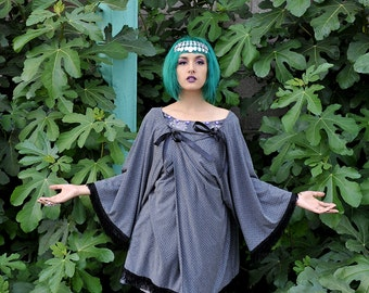 Silver / grey / gray studded jersey double bow kimono with black fringing o.o.a.k handmade in UK Size M-L 12-14-16 unique o.o.a.k.