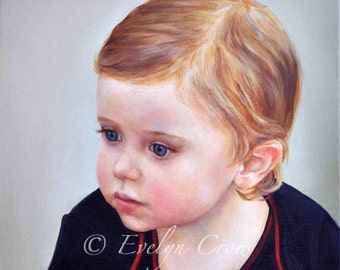 """Oil Painting  - Custom Portraits from Your Photos - Child Portrait  16"""" x 16"""""""