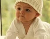 Knitted baby hat Unisex baby beanie. Handmade Merino wool Newborn to 18 months White Turquoise Baby shower gift Children clothing Photo prop