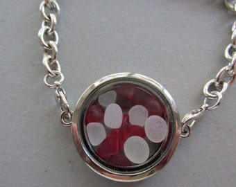 Red Memory Bracelet, Red Sea Glass Locket, Gift for Her, Sea Glass Jewelry, Crystals Bracelet, Beach Glass Jewelry