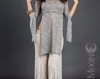 SALE Last One: The Hooded Tunic Top in Heather Gray Sweater Knit by Opal Moon Designs (Size XL)