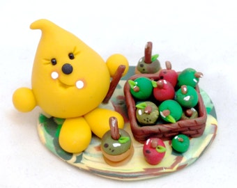 Parker's Apple Harvest - Polymer Clay Character StoryBook Scene