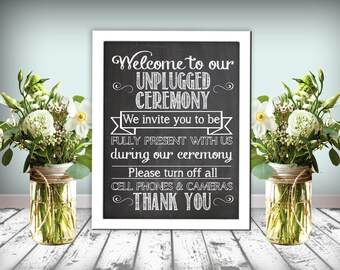 Unplugged Ceremony Sign Chalkboard Printable 8x10 PDF Instant Download Rustic Shabby Chic Woodland Please Turn Off All Cell Phones & Cameras