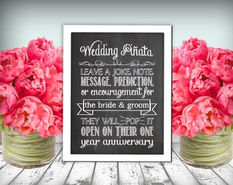 Wedding  Piñata Sign Chalkboard Printable 8x10 PDF Instant Download Rustic Shabby Chic Woodland