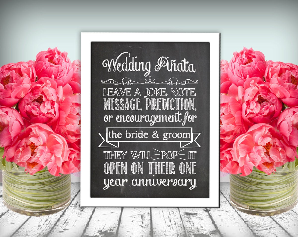 pinata wedding pinata Wedding Pi ata Sign Chalkboard Printable PDF Instant Download Rustic Shabby Chic Woodland