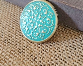Patina Golden Brass Locket Necklace - patina antique brass locket - Vintage, xo