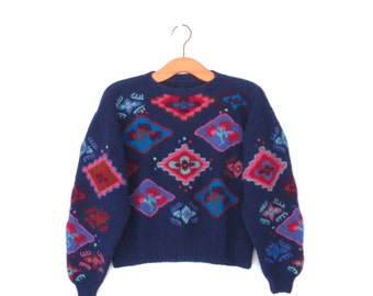Vintage Embroidered Sweater * 80s Sweater * Boxy Pullover Sweater * Medium / Large