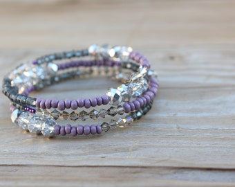 Purple, gray, silver stacked wire bracelet - faceted and bicone crystal - sparkly