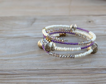 Purple, cream, gold, gray wire bracelet - vintage, stackable, unique