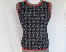 1970s Knit Vest Sleeveless Top, Polyester Red White Blue Triangle Pattern, Medium