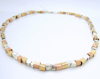 Hammered gold filled and silver necklace