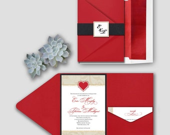 Ornate Heart & Swirls Wedding Invitation Set Deposit