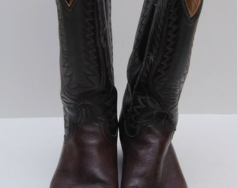 mens 1970s brown and black leather cowboy boots