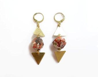 Bohemian Gemstone Statement Earrings, Ocean Jasper Earrings, Orbicular Jasper Triangle Earrings