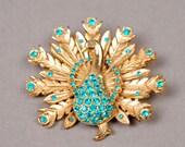 Peacock Brooch - Peacock Pin - Crystal Pin - Crystal Brooch - Vintage Brooch - Vintage Pin