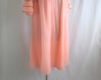 Vintage 1960's Ruched Frothy Pink Mini Peignoir & Nightie Set-Lacey Mad Men Lingerie-Size M