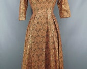 Vintage Peachy Gold Metallic 1950s 1960s 3/4 Sleeve Backless Dress Size Small