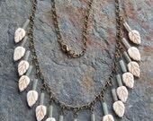 Fringe necklace, woodland leaves necklace, leafy fringe statement necklace, boho style stone leaf necklace, modern, tribal, tree lover