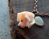 Seashell necklace, coral rosette, flower necklace, mermaid necklace, bohemienne, beachy boho style, delicate, feminine, flower girl gift
