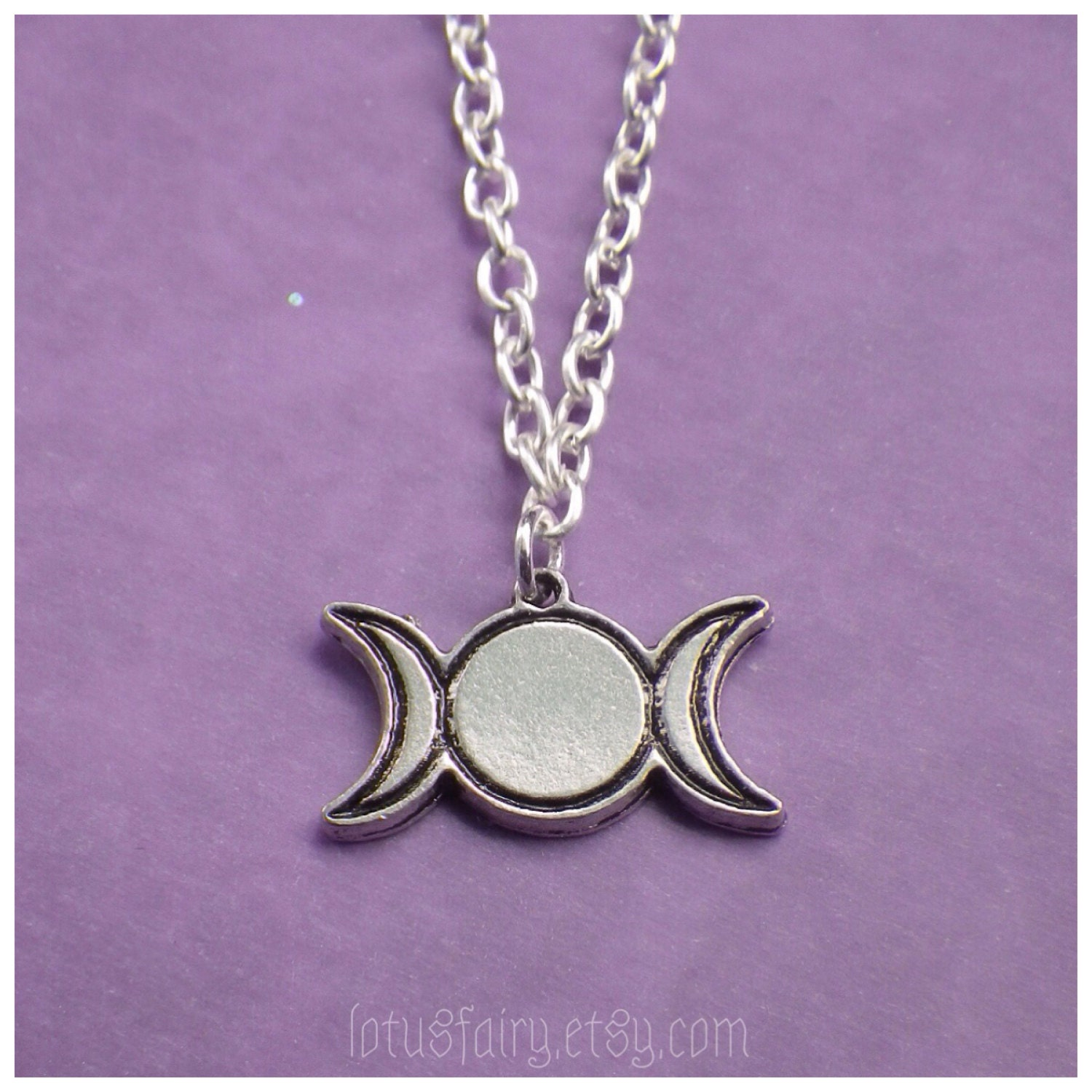 Triple goddess moon necklace pagan wiccan jewelry cord chain or triple goddess moon necklace pagan wiccan jewelry cord chain or tattoo choker aloadofball Choice Image