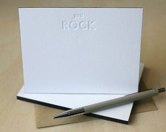 Letterpress Edge Painted Notecards - You Rock Notes