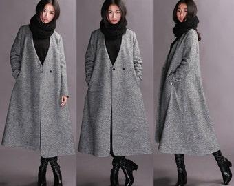 Long gray wool coat long paragraph Slim Girls Long woolen coat