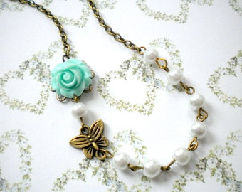 Flower Girl Jewelry Turquoise Flower Necklace Kid Pearl Necklace Children Pearl Jewelry Flower Girl Necklace Wedding Children Gifts